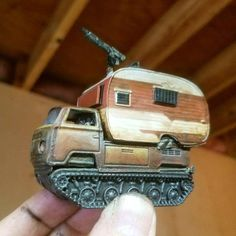 Back when I was a teen Car Wars player, one of my great pleasures was kit-bashing toy cars together with arms and armor from tank models to make Mad Max-ish battlewagons to use in our autoduels (a … Custom Hot Wheels, Hot Wheels Cars, Hot Wheel Autos, Apocalypse, Death Race, Camper, Car Mods, Car Humor, Diecast Models