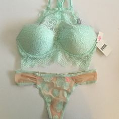 Victoria's Secret/PINK Mint Bra & Panty Set Color: Mint. Push-Up Bra is a size Medium (36A-C) and the panty (mint and nude combo) is a size Medium. Both are NWT.*NO TRADES* A sheer lace neckline and racerback make this push-up bralette a total must-have for Spring Break. Wear it on its own with high-waisted bottoms or layer it under a cute tank!  Most push Pull On Fit High neck top Underwire cups Scalloped lace Adjustable straps Imported polyamide/spandex PINK Victoria's Secret Intimates…