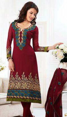 USD 63.7 Red Faux Georgette Printed Churidar Salwar Suit  27118
