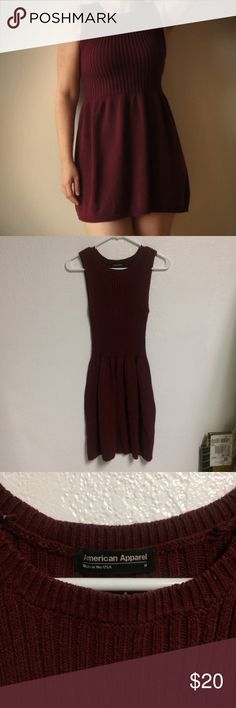 Burgundy sleeveless sweater dress Super cute sleeveless sweater dress. Great for all occasions. No holes pills or snags, a small white outs stain on the hem from when I wore it to school one day when I was a teacher. American Apparel Dresses Mini