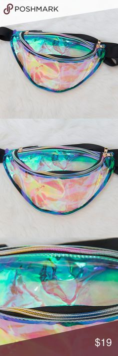 """Large Colorful holographic festival fanny pack Brand new & never used cute holographic fanny pack. Fanny pack is see through (example shown in photos). Perfect for music festivals, raves, or parties! Has 2 pockets (the main, larger one & a small one near the top) with multi color rainbow zippers. Item Length: 35 cm (about 13.77"""") Strap Drop: 55 cm (about 21.65"""") Tags: kawaii transparent purse grunge aesthetic harajuku punk goth tumblr hippy hipster coachella burning man plur dance…"""