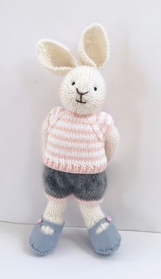 Knitted bunny rabbit would make a lovely Easter gift by Nodnook on Etsy Knitted Bunnies, Bunny Rabbits, Little Cotton Rabbits, Pretty Packaging, Etsy Uk, Easter Gift, Kids Toys, Hello Kitty, Etsy Shop