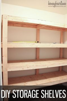 DIY STORAGE SHELVES-This would be so helpful for the basement or garage!