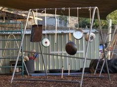 Music Frame Irresistible Ideas for Play Based Learning The simple additon of pots and pans to an old climbing frame and voila - a music f. Reggio, Kids Play Equipment, Outdoor Learning Spaces, Outdoor Classroom, Classroom Ideas, Music And Movement, Play Based Learning, Outdoor Playground, Backyard Projects