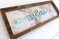 Items similar to Explore wood sign // world map wood sign // explore arrow wood sign // explore map sign // map wood sign // arrow wooden sign on Etsy Rustic Signs, Wooden Signs, Pallet Board Signs, Map Crafts, Decor Crafts, Adventure Map, Adventure Quotes, Arrow Art, Map Background