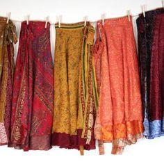 Sari Silk Wrap Skirts - 3 Pack
