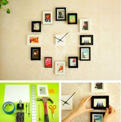 Dica para quem gosta de inovar a decoração. Faça um mural de fotos em formato de relógio! Junte criatividade com vontade de inovar e os matérias necessários e mão na massa!