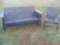 Unfinished Vintage Metal Porch Glider Patio Set.Chair is a BOUNCER.Gotta love it!