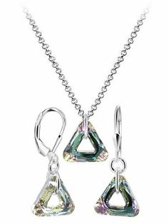 Sterling Silver Vitrail Light Crystal 16 inch Earrings Pendant 1mm Rolo Chain Necklace Set Made with Swarovski Elements Gem Avenue. $45.99. Length of this Pendant is 1 Inch. Gem Avenue sku # BDST023. Light Vitrail Crystal Earring Pendant 1mm Rolo Chain Necklace Jewelry Set. Made in .925 Sterling Silver. Save 54% Off!