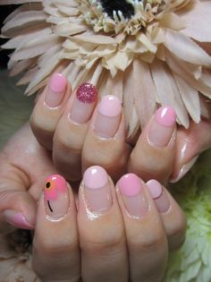 Floral, pinkish, reverse French tips