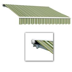AWNTECH 16 ft. Galveston Semi-Cassette Right Motor with Remote Retractable Awning (120 in. Projection) in Forest/Gray Multi, Green