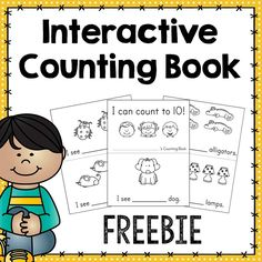 FREEBIE: Interactive Counting Book - Freebie  Practice counting to 10 with your students with the help of this fun interactive book! Each page has pictures for students to count and space to write the number of pictures. Pictures are black and white line so students can color each page and to help you save on colored ink. The final page has space for students to trace and write each number they practiced.