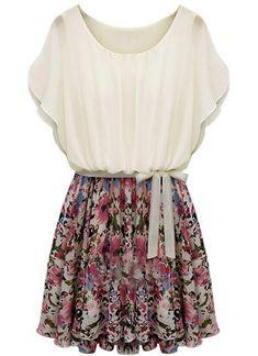 Vestido floral manga murcielago con cinturón-Beige