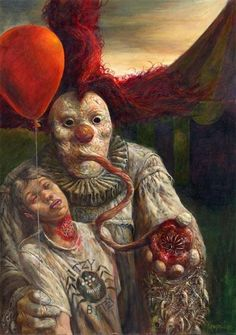 Strange Horror Clown painting painting by David Kendall