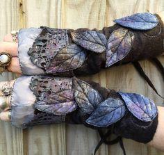 Faerie Cuffs-woodland cuffs  forest gloves Cuffs by folkowl