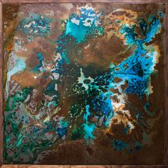 epoxy resin on sheet metal, that looks like aerial photographs ..by Sean Woolsey