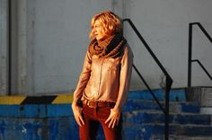 Spotted: System Action shinny shirt and wool scarf at, www.tarracostyle.blogspot.com
