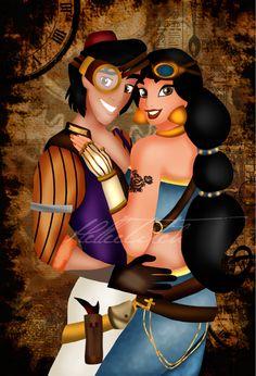 Steampunk Jasmine and Aladdin : deviantART by HelleeTitch