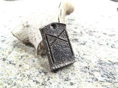 Mannaz Celtic Viking Rune Pendant - blacksmith forged wrought iron steel zipper charm, necklace.