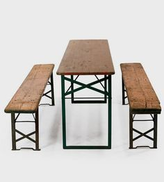 Vintage Biergarten Table & Benches