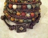 Multi-colored picasso Jasper quadruple leather wrap bracelet, chan luu style