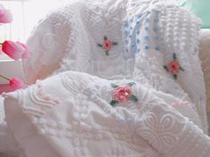 All of my guest beds are covered in vintage chenille bedspreads... That's how I roll. :D