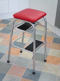 RETRO CHROME 1960s STEP STOOL RED SEAT.