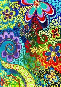 """Psychedelic Flowers Whimsical Colorful Modern Abstract Contemporary Giclee Fine Art Posters and Prints from my Original Acrylic Painting """"So Happy Together"""" by NYoriginalpaintings on Etsy."""