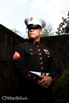 Groom's portrait with cover #USMC #UnitedStatesMarines #wedding #groom #marinewedding #atlanta #marietta #hollycresthall #photography #strobist #weddingphotography