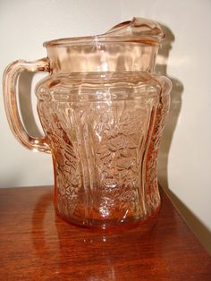 Federal Sharon Cabbage Rose Pink Depression Glass Pitcher w/ Ice Lip • $55.99