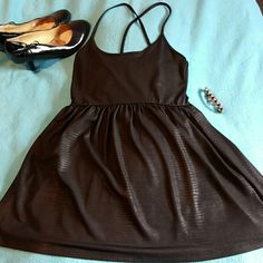 Silence + Noise Black Very Short Dress/Tunic Black reptile print Urban Outfitters Tops