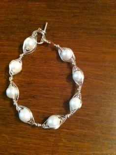 White Freshwater pearl Herringbone Style Wire by OriginalStiles, $29.99