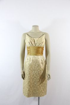 1950's Vintage Dress  Gorgeous Gold and by VintageFrocksOfFancy, $190.00