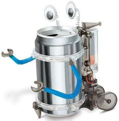 This is great to do indoors when it is too hot to go outside. tin can robot summer activity, boredom buster. robot. science, keeping kids brains active