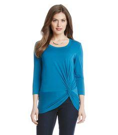 Karen Kane 3L13593 Baltic Blue 3/4 Sleeve Side Twist Stretch Jersey Top - $79   eBay Karen Kane, Casual Tops, Blue Tops, Tunic Tops, Stylish, Shopping, Sleeve, Polyvore, Ebay