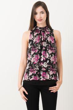 Suzy Shier Floral Mock Neck Blouse