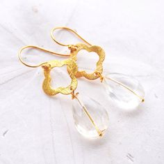 Vermeil Quatrefoil with Crystal Clear by laurenamosdesigns on Etsy, $40.00