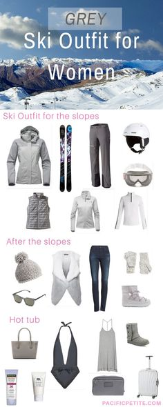 Having trouble finding a ski outfit! If you love greys check out this pin full of Ski jackets, ski pants, skis, helmet, goggles, ugg boots etc.