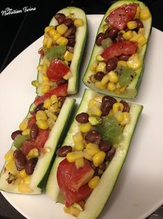 Black Bean & Corn Salad Zucchini Boats | Only 39 Calories/ Boat | Yummy Wine Vinaigrette | Protein & Fiber-packed |For MORE RECIPES please SIGN UP for our FREE NEWSLETTER www.NutritionTwins.com