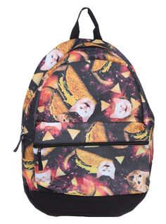 Taco cats in space backpack. Gloriously weird.