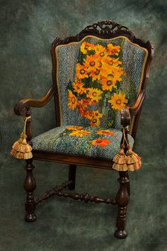 SUSAN JUDAH's    VENIDIUM FASTUOSUM (Cape Daisy/Arctotide)    Handwoven Tapestry - Wool, cotton, linen  Period Chair - Colonial Revival armchair, C.1925