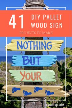 41 easy DIY pallet sign ideas and tutorials. Learn how to add scripting and letters to scrap wood, and hang indoors our outdoors. These simple, rustic crafts and projects are cheap alternatives to expensive store bought signs. Wood Pallet Signs, Diy Wood Signs, Wood Pallets, Diy Pallet Projects, Woodworking Projects Diy, Wood Projects, Craft Projects, Pallet Patio Furniture, Diy Furniture