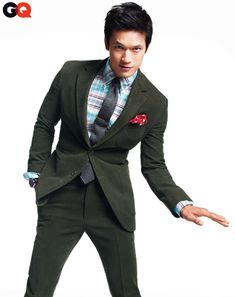 Glee's Harry Shum, Jr. - Suit, $1,945 by Bally. Shirt, $295 by Thom Browne New York. Tie, $60 by Nautica. Tie bar by The Tie Bar. Watch by Hamilton. Bandanna (as pocket square) from Kaufman's Army & Navy.