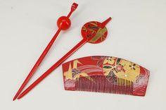 Mint Japan Kimono Hair Accessory Set Kanzashi Kushi Red Free SHIP 727K11 | eBay