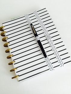 """White and Black dots print with pen loop Perfect for securing planners or notebooks closed! Can also be worn as a headband Band Measurements: 17"""" long Material Used: Fold Over Elastic All bands are ha"""