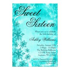Swirl Snowflakes Teal Sweet 16 Winter Wonderland Custom Announcement Yes I can say you are on right site we just collected best shopping store that haveReviewReview from Associated Store with this Deal...
