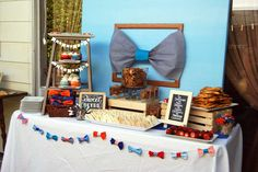 Little Man Bowtie baby shower dessert table! See more party planning ideas at CatchMyParty.com!