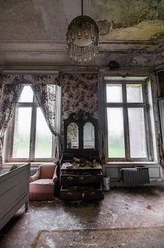 The abandoned Château de la Forêt or Castle Moulbaix, Moulbaix, Arrondissement of Ath, Belgium.