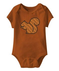 Take a look at this Burnt Orange Polka Dot Squirrel Bodysuit - Infant by Tiny Twigs on #zulily today!