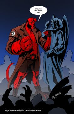 Dark Horse Comic's Hellboy meets a Weeping Angel from the Doctor Who universe. Horror Comics, Marvel Dc Comics, Anime Comics, Godzilla Comics, Comic Book Characters, Comic Character, Comic Books, Hellboy Liz, Funny Cartoon Memes
